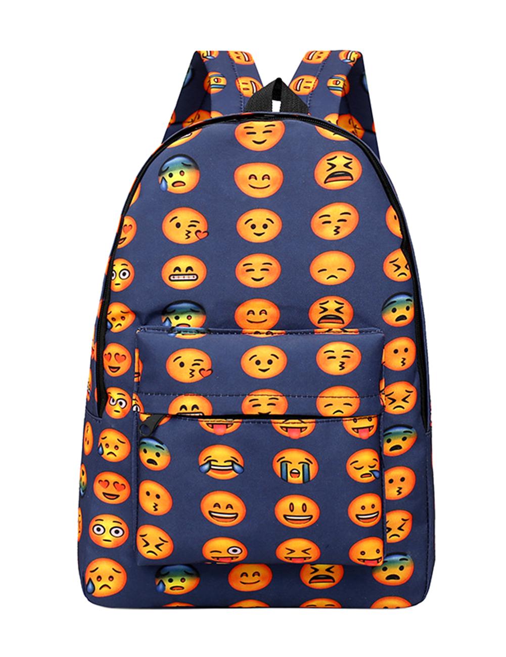[EU Direct] Unisex Students' Big Capacity Backpack Oxford Cloth Cute Expression Shoulder Bag Dark blue