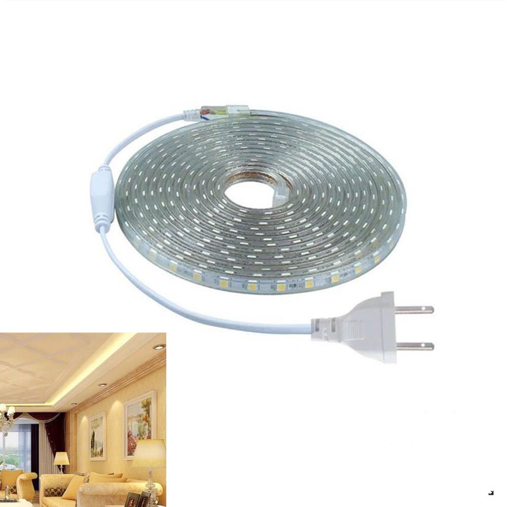 220V 5050 SMD High-voltage LED String Lights IP67 Waterproof Lamp Wedding Party Festivals Decoration Warm white light_220V national standard flat plug