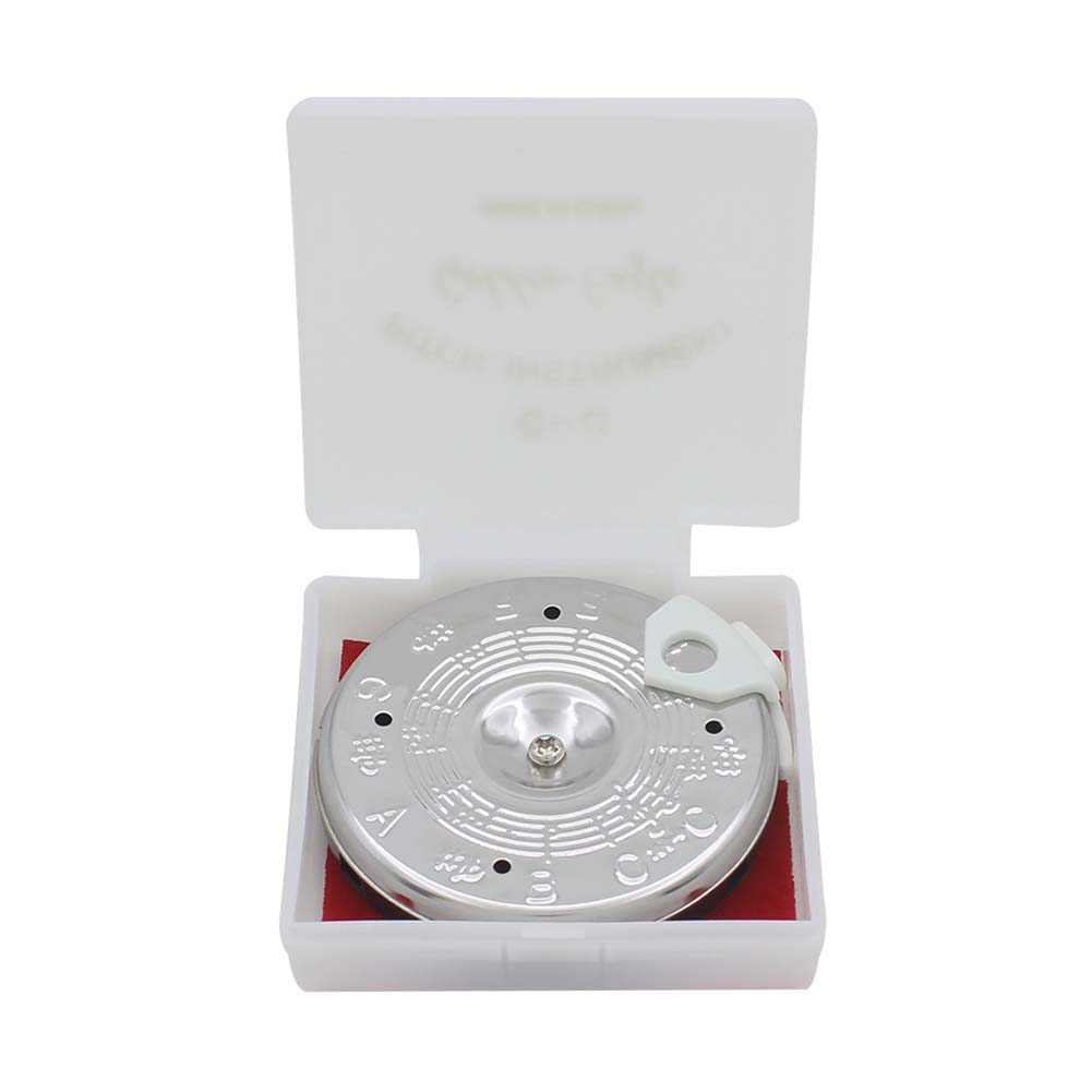 13 Tone Guitar Tuner Note Key Round Silver Tuning Pitch Pipe with box Silver_13 notes