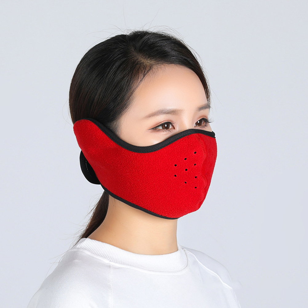 Winter Outdoor Ski Mask Cycling Warm Riding Mask Headgear Windproof Mask Ear Mask Red_Free size