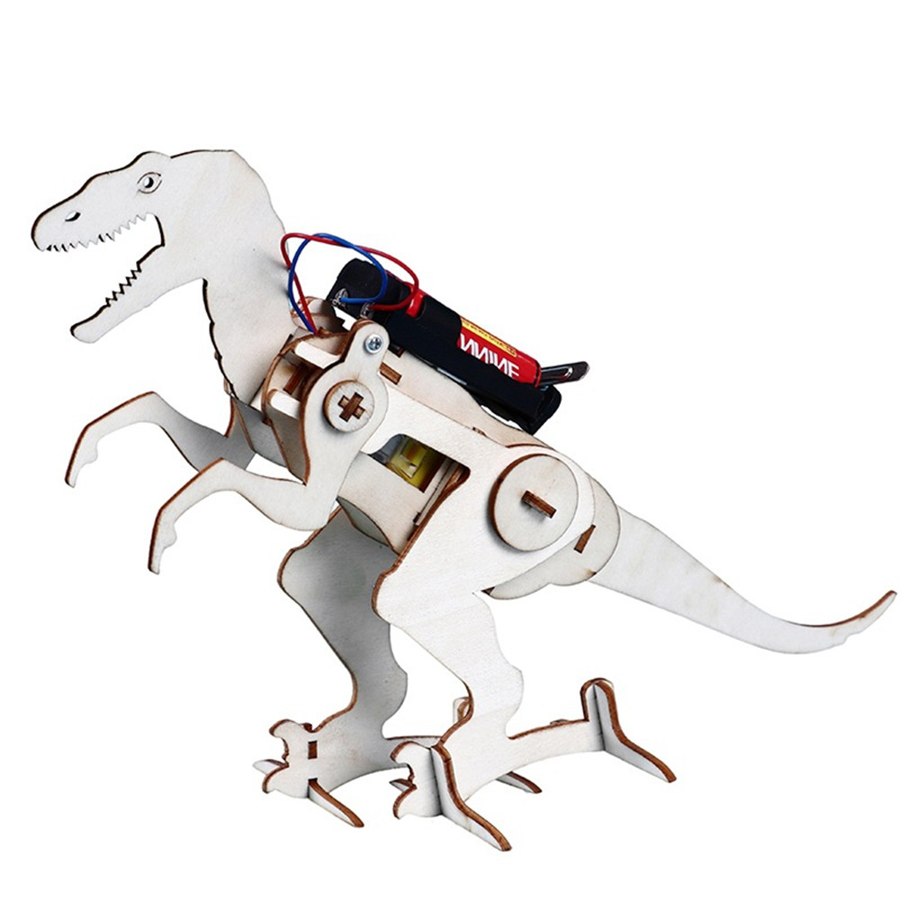 Wooden Dinosaurs Electric DIY Technology Small Equipment as shown