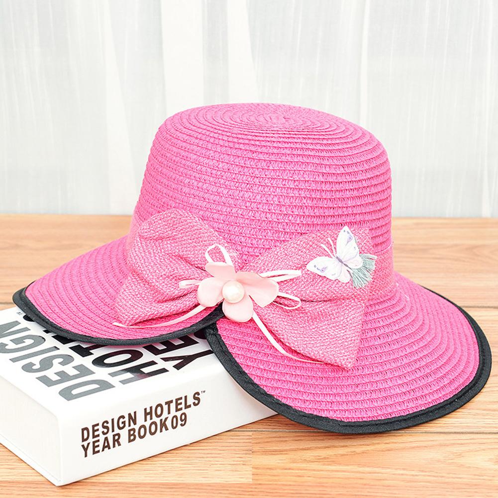 Summer Straw Hat for Women Sun-shade Seaside Ultraviolet-proof Beach Hat Foldable Hat Split rose