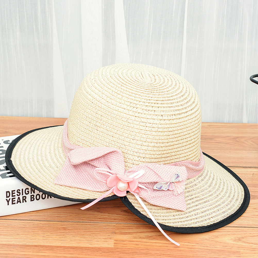 Summer Straw Hat for Women Sun-shade Seaside Ultraviolet-proof Beach Hat Foldable Hat Split beige