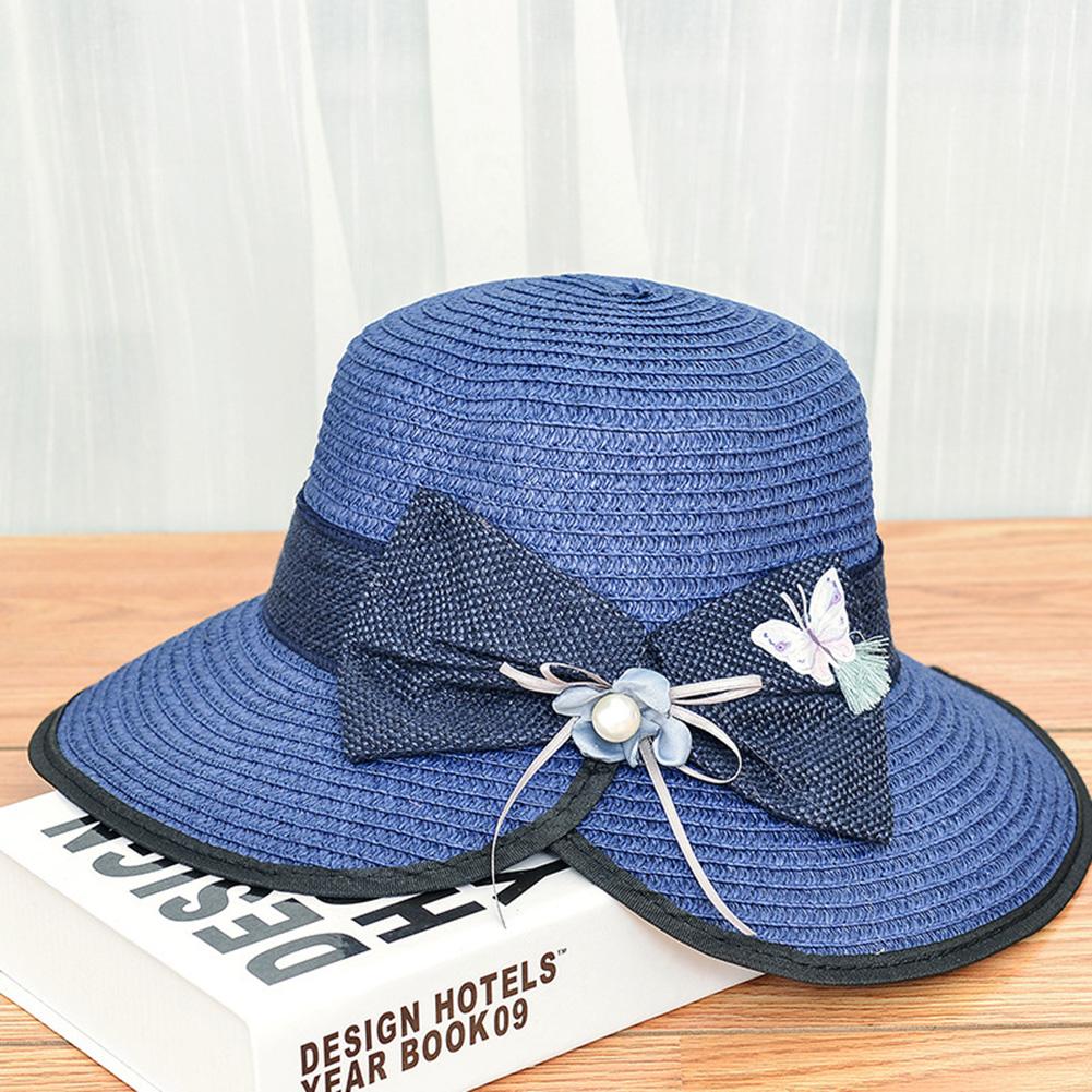 Summer Straw Hat for Women Sun-shade Seaside Ultraviolet-proof Beach Hat Foldable Hat Open navy