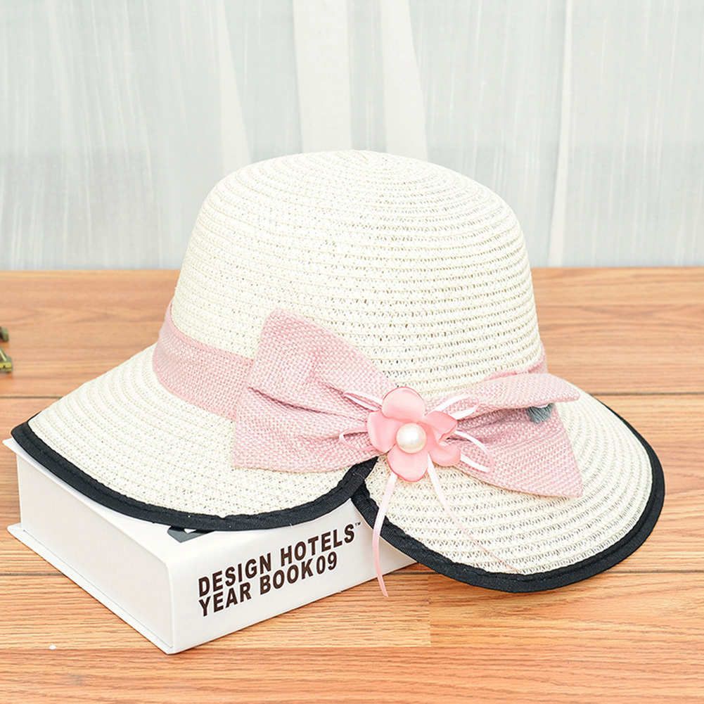 Summer Straw Hat for Women Sun-shade Seaside Ultraviolet-proof Beach Hat Foldable Hat Split milk white