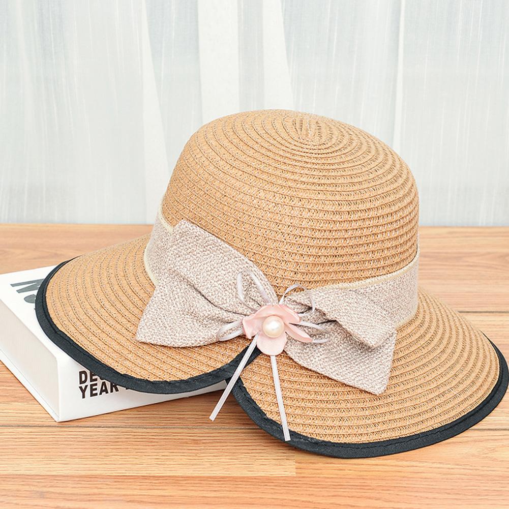 Summer Straw Hat for Women Sun-shade Seaside Ultraviolet-proof Beach Hat Foldable Hat Split khaki