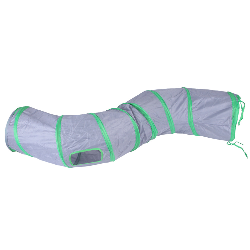 S-shaped Tunnel Curved Cat Runway Foldable Multicolour Pet Supplies gray_free size