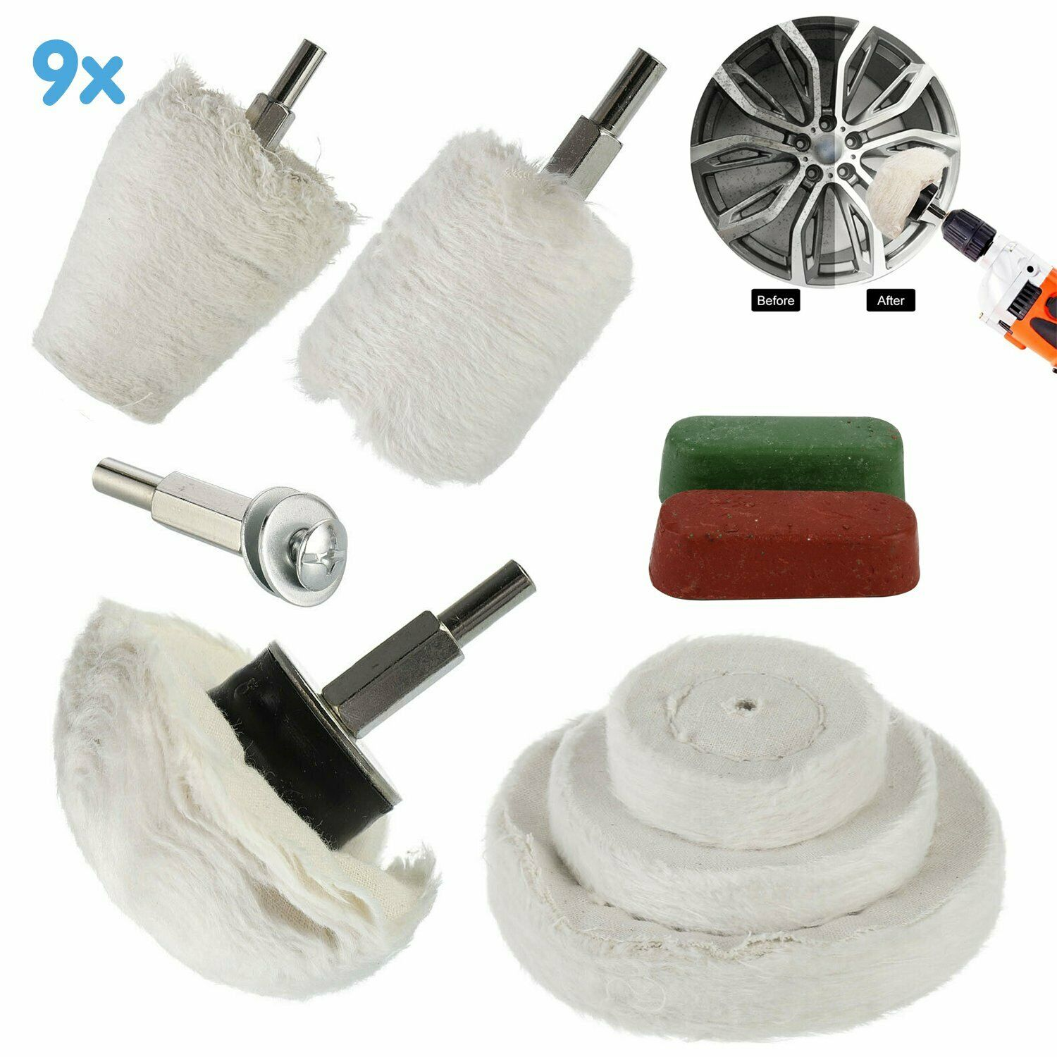 9pcs/set Polishing Set Polishing Heads Polishing Disc Attachment For Drill Bagged