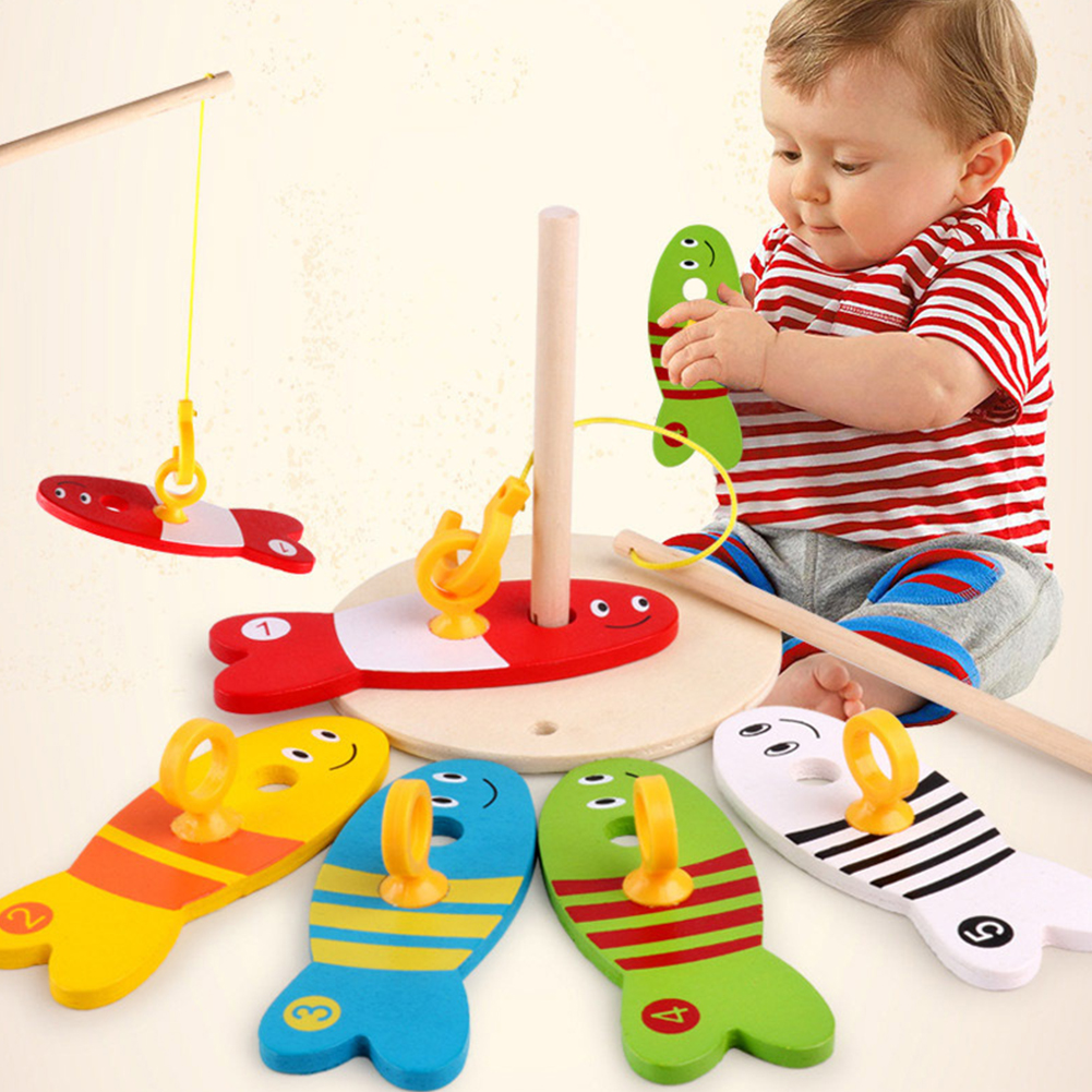 Boys Girls Wooden Fishing Puzzle Infant Baby Play Set Smooth Blocks Children Early Educational Game Toy