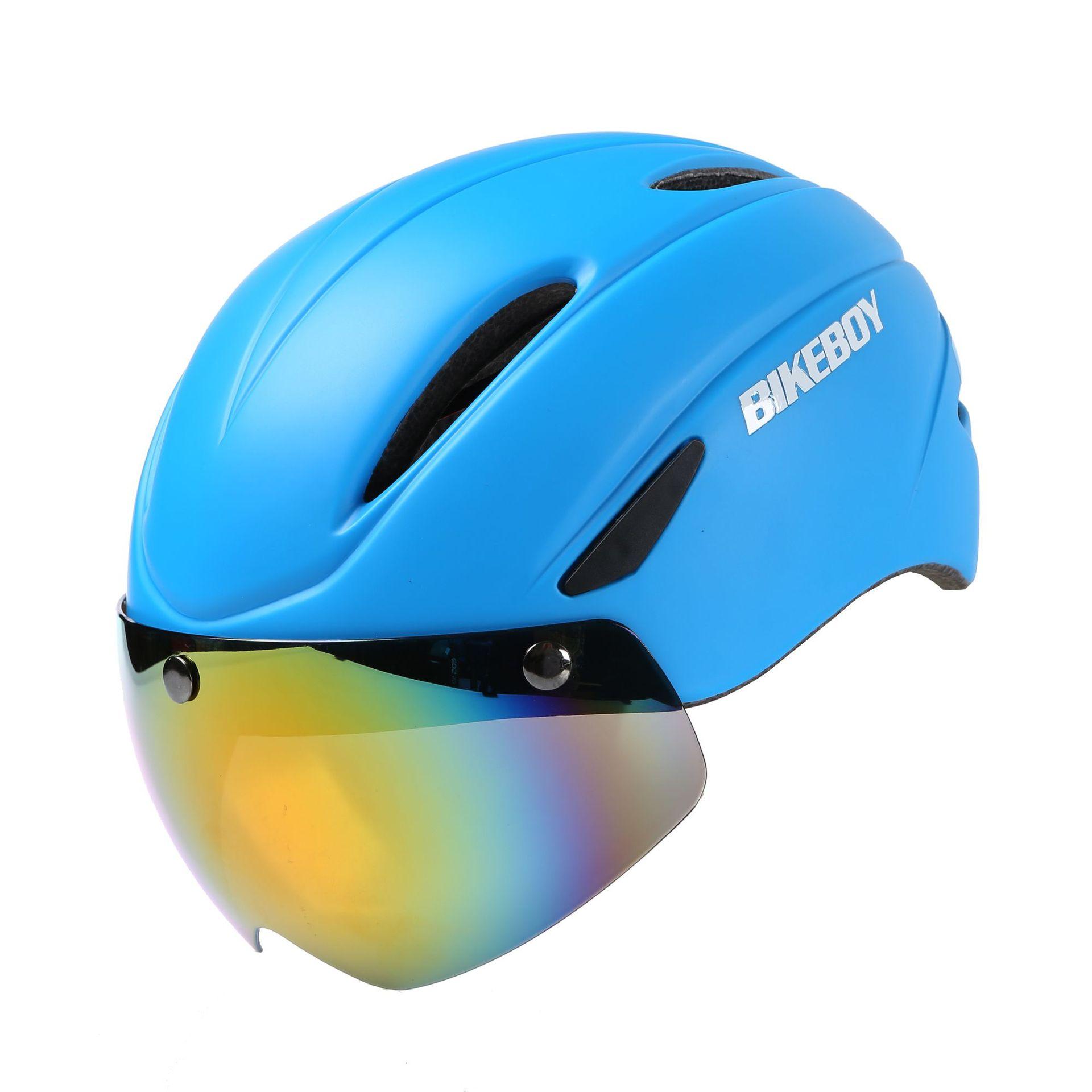Bikeboy Riding Helmet Glasses One-piece Men Road Bike Mountain Bike Helmet Bicycle Helmet Restraint Goggles Matte blue_Free size - gray lenses