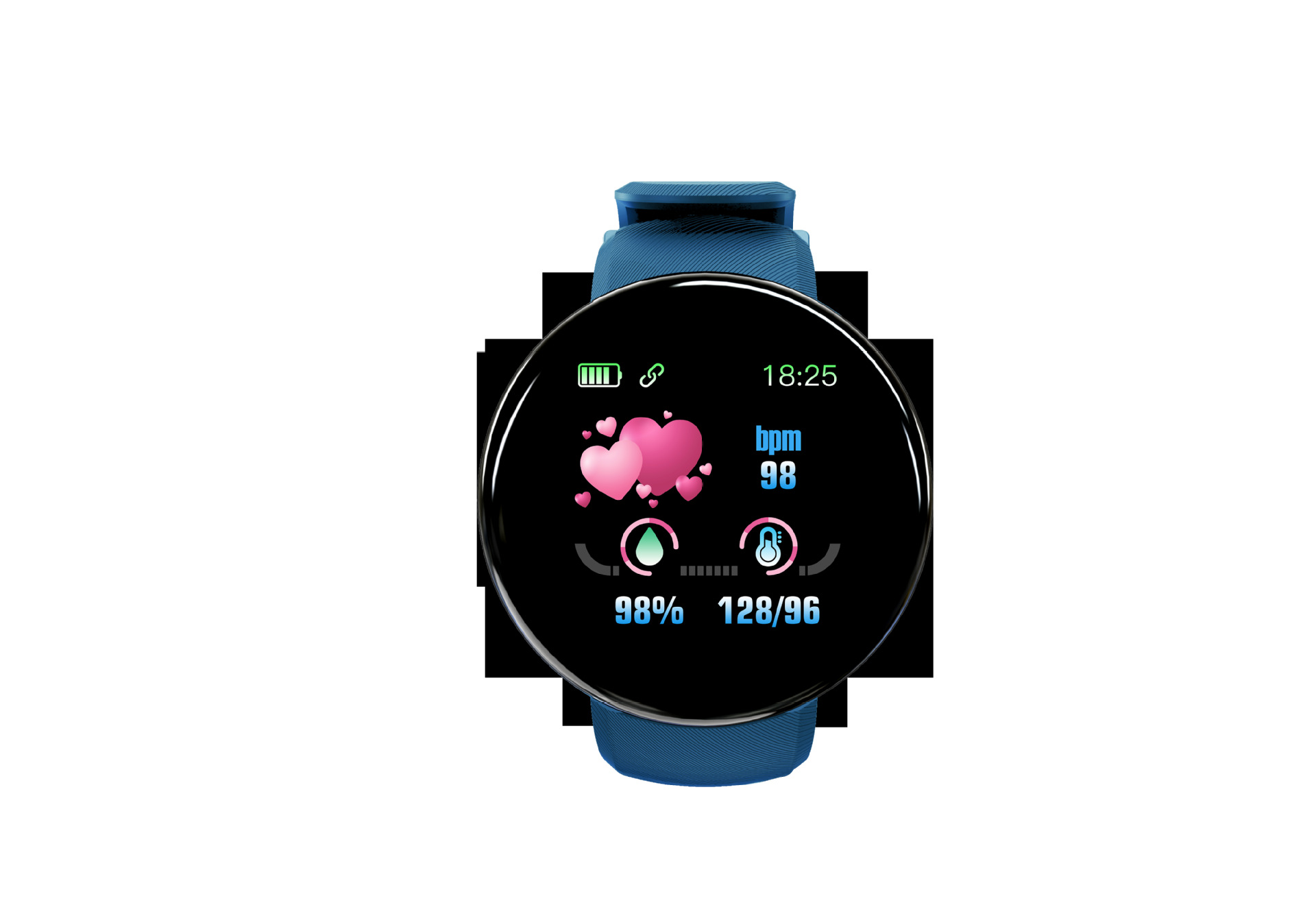 Bluetooth Smart Watch Men Blood Pressure Round Smartwatch Women Watch Waterproof Sport Tracker for Android iOS blue
