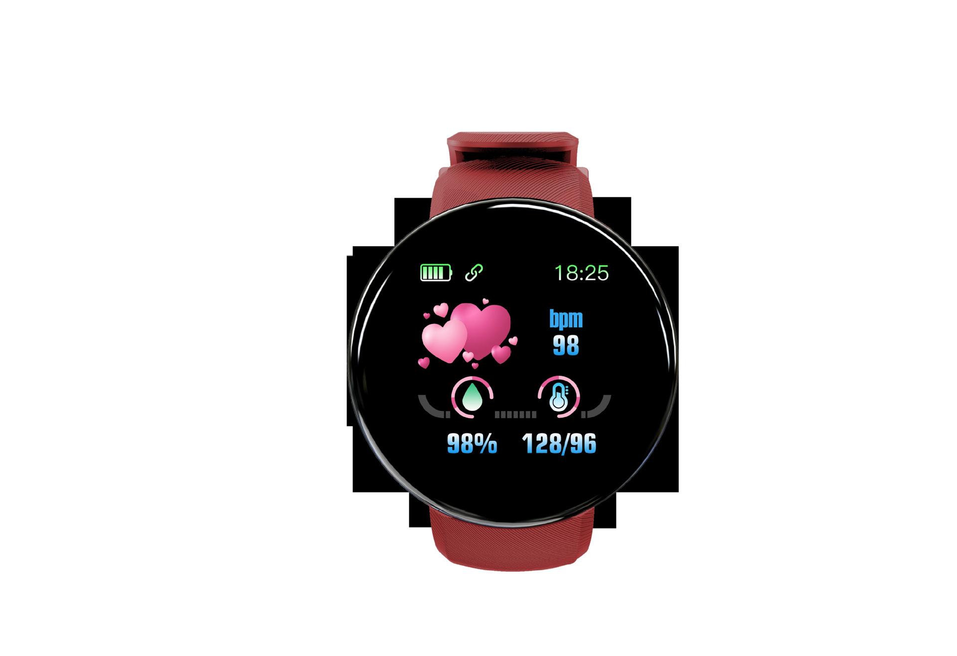 Bluetooth Smart Watch Men Blood Pressure Round Smartwatch Women Watch Waterproof Sport Tracker for Android iOS red
