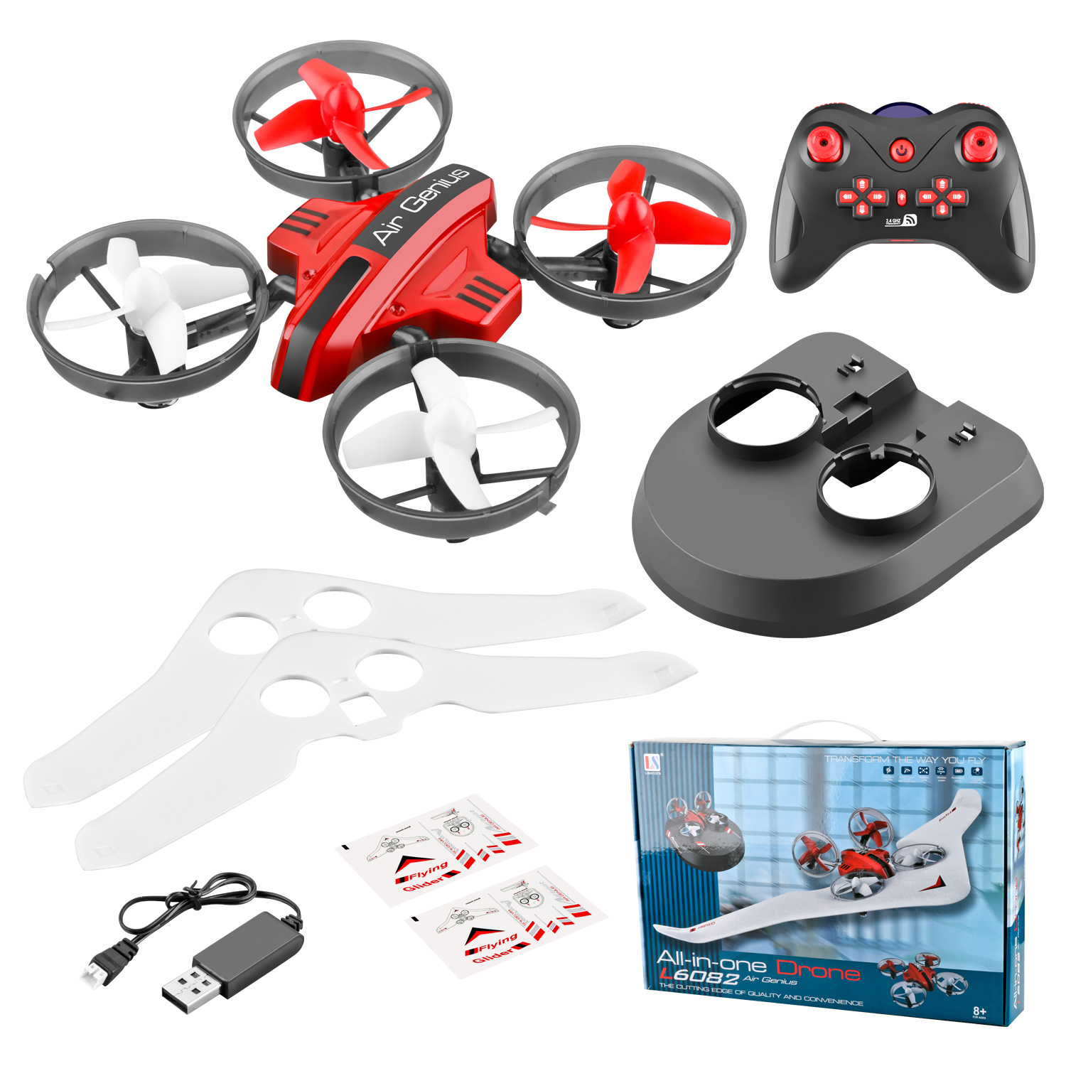 L6082 DIY All in One Air Genius Drone 3-Mode With Fixed Wing Glider Attitude Hold RC Quadcopter RTF red_Three battery