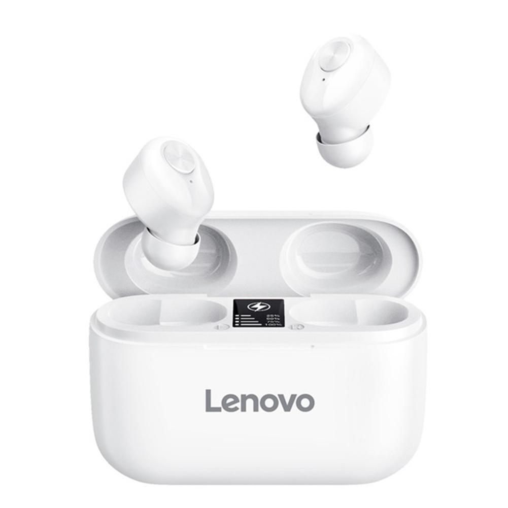 Original LENOVO Ht18 Tws Wireless Bluetooth 5.0 Earphones Led Display Volume Control Hifi Stereo Headset white