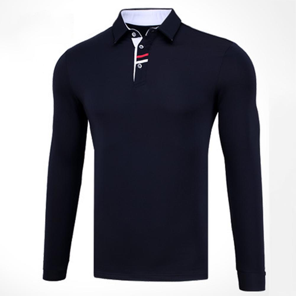 Golf Clothes Male Long Sleeve T-shirt Autumn Winter Clothes YF095 navy blue_XXL