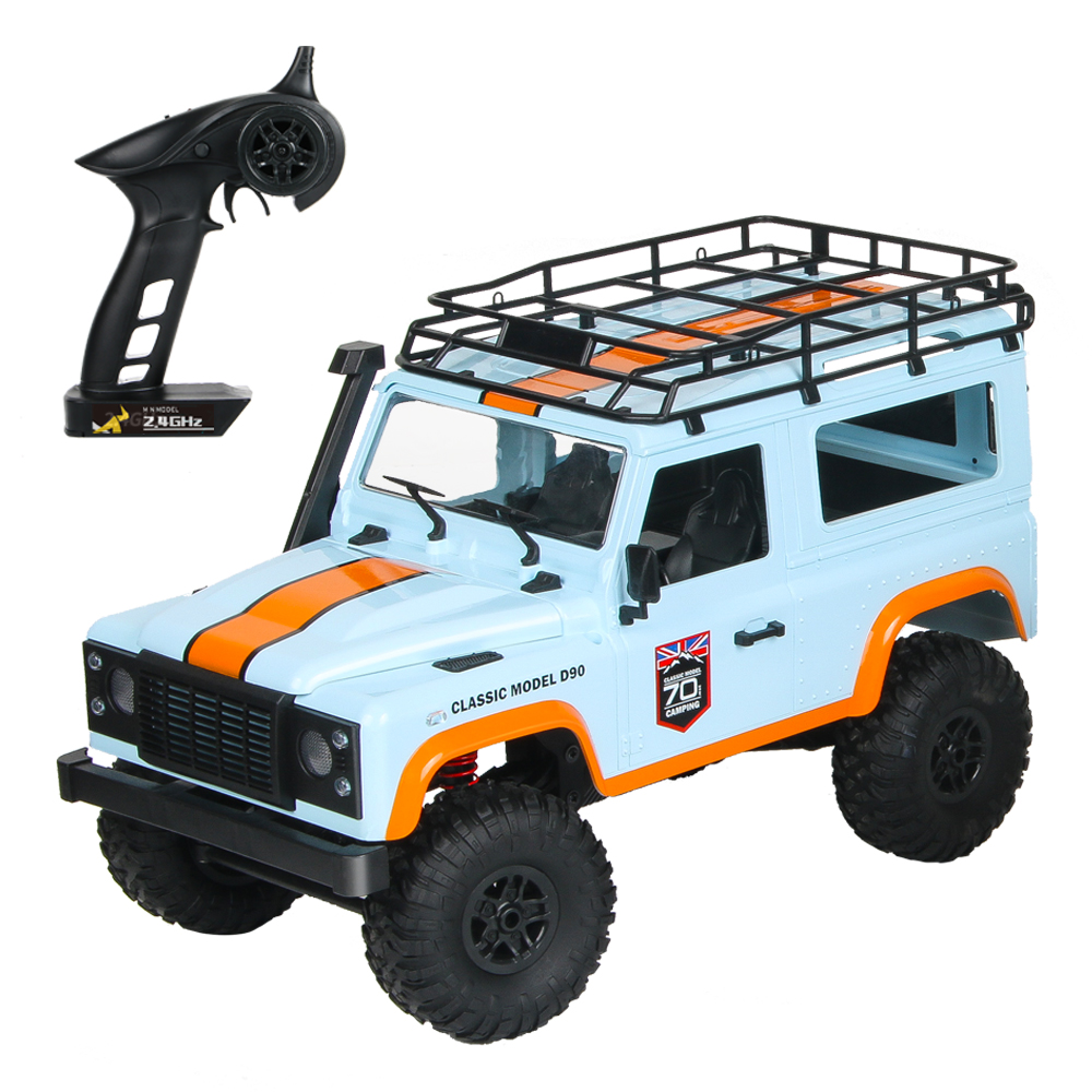 MN-99 2.4G 1/12 4WD RTR Crawler RC Car For Land Rover 70 Anniversary Edition Vehicle Model blue_Three battery
