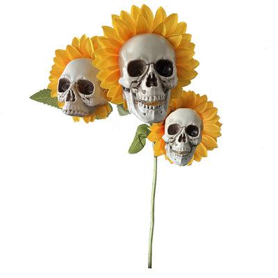 Halloween Skull  Sunflower Garden Decoration Household Decorative Ornament 3 head styles