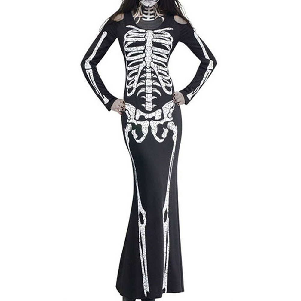 Halloween Sexy Bodycon Dress Scary Skeleton Long Sleeve Slim Cosplay Party Show Costume black_S