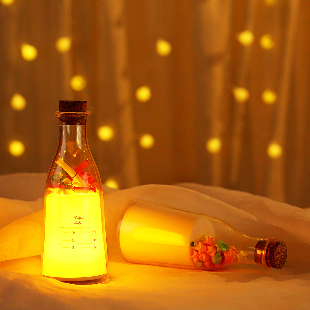 Night Light 7 Colors Change USB Charging Milk Bottle with Timing Function for Bedroom Living Room Colorful RGB