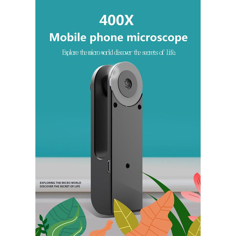 Universal Mobile Phone Universal Microscope Hd Camera Supplementary Light Lens 400X Microscope Camera Lens  black