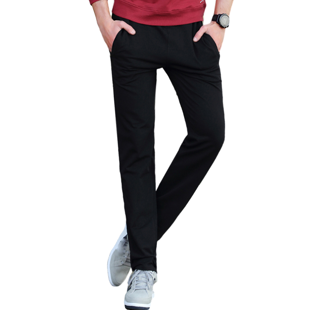 Men's Casual Pants Thin Type Cotton Loose Running Straight Sports Trousers black_M