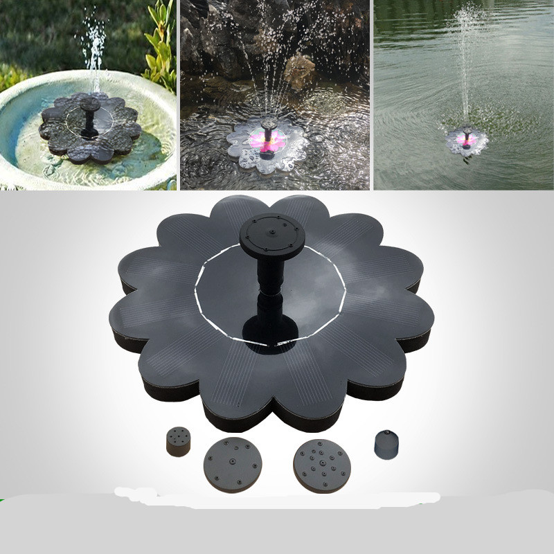 Outdoor Solar Powered Fountain Pool Lake Pond Aquarium Garden Gardening Decoration 16x16cm_Charged 800MA