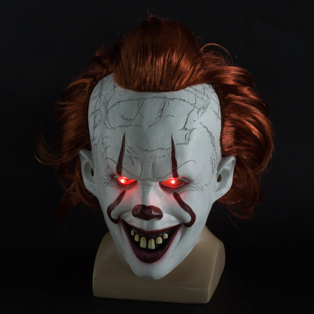 Halloween Clown Back Spirit 2 Pennywise Latex Mask Dress Up Props Smiley glow