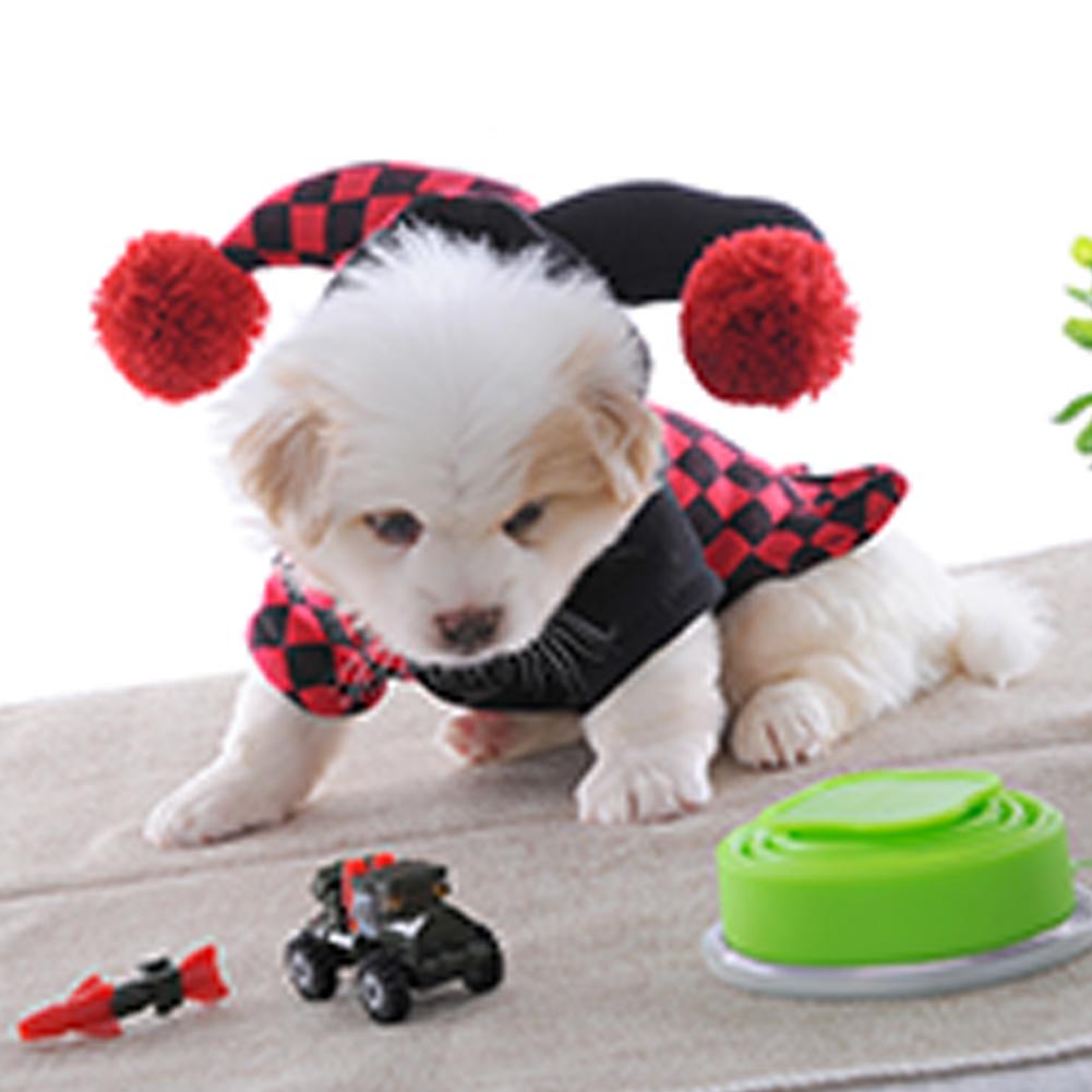 Cute Pet Halloween Cartoon Clown Joker Costume for Pet Dog Teddy Cat Autumn Winter Wear Black red_XL