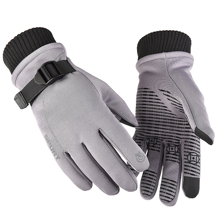 1 Pair of Warm Gloves Autumn and Winter Skiing Outdoor Cycling Non-slip Waterproof and Rainproof Fleece Gloves gray_Male models (suitable for palm size 21-23cm)