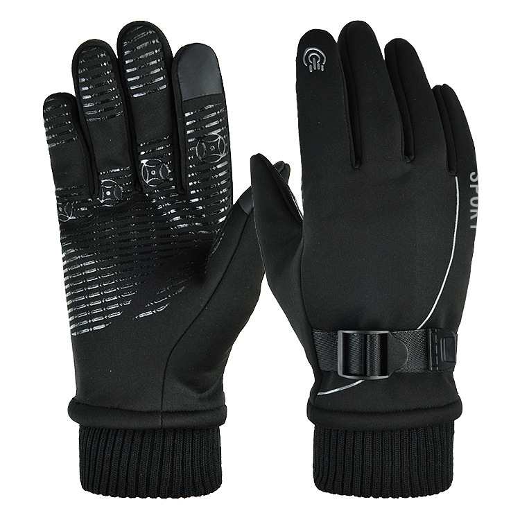 1 Pair of Warm Gloves Autumn and Winter Skiing Outdoor Cycling Non-slip Waterproof and Rainproof Fleece Gloves black_Female models (suitable for palm circumference 18-20cm)