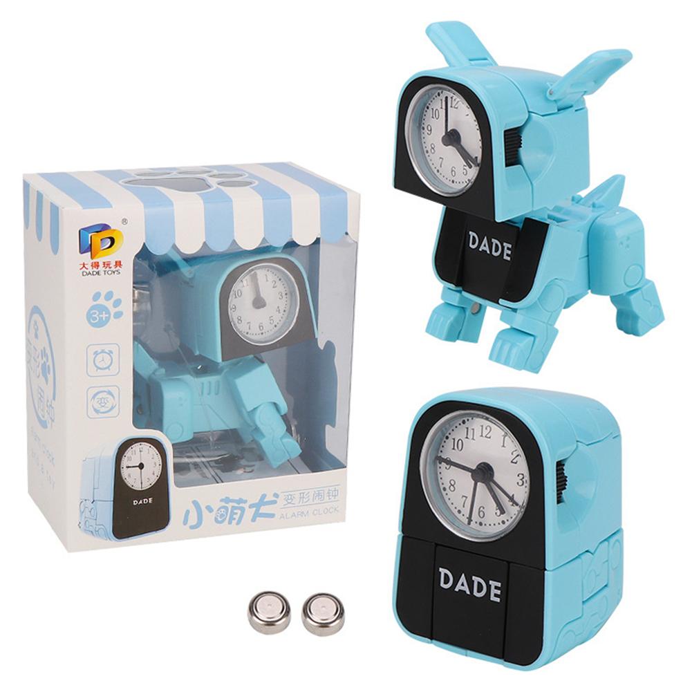 Alarm Robot Kid Toy Deformation Table Clocks Creative Cartoon Desk Clock Kids Gift blue