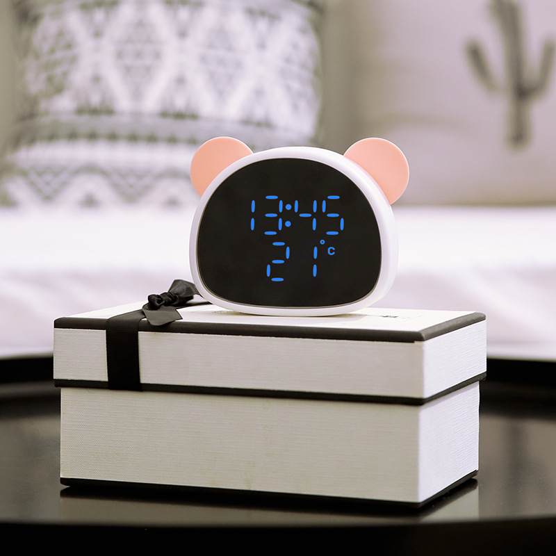 Panda Alarm Clock Recorder Voice Control Multi-function Rechargeable USB Night Light Bedside Mirror Makeup Mirror Powder + white