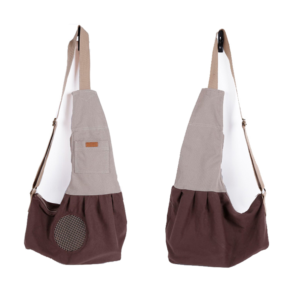 Fashion Portable Canvas Carrying Single Shoulder Bag for Small Pets Cat Dog Outdoor Use coffee_60*50*19cm