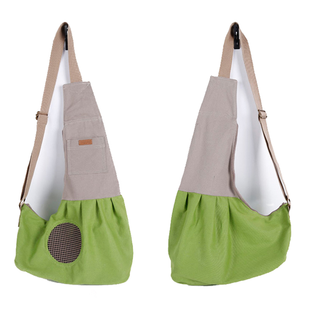 Fashion Portable Canvas Carrying Single Shoulder Bag for Small Pets Cat Dog Outdoor Use green_60*50*19cm