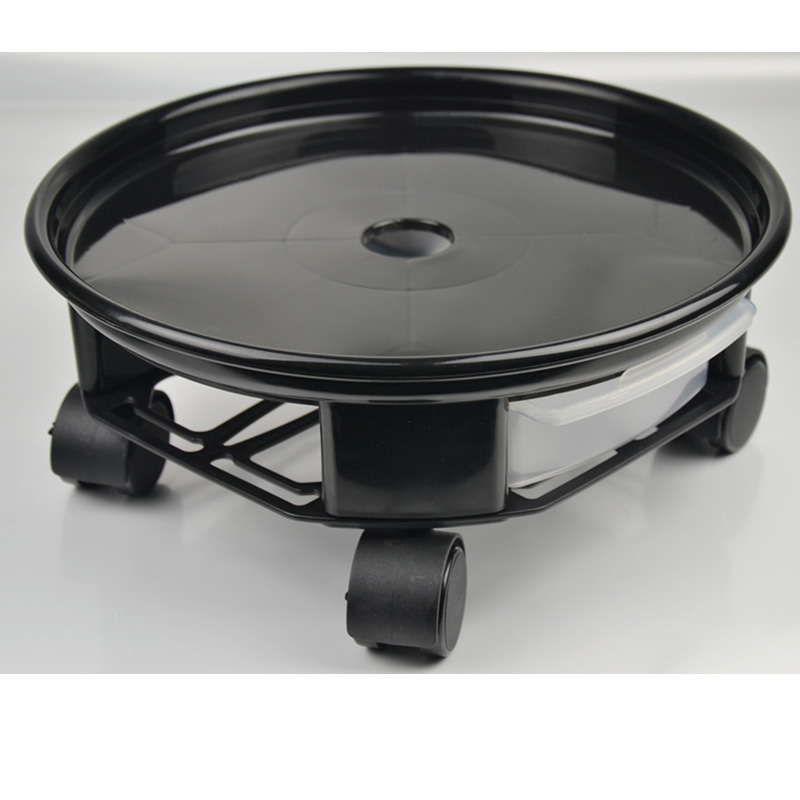 Natural Resin Round Plant Trolley with Caster Wheels And Water Drawer Black_4 # brake wheel