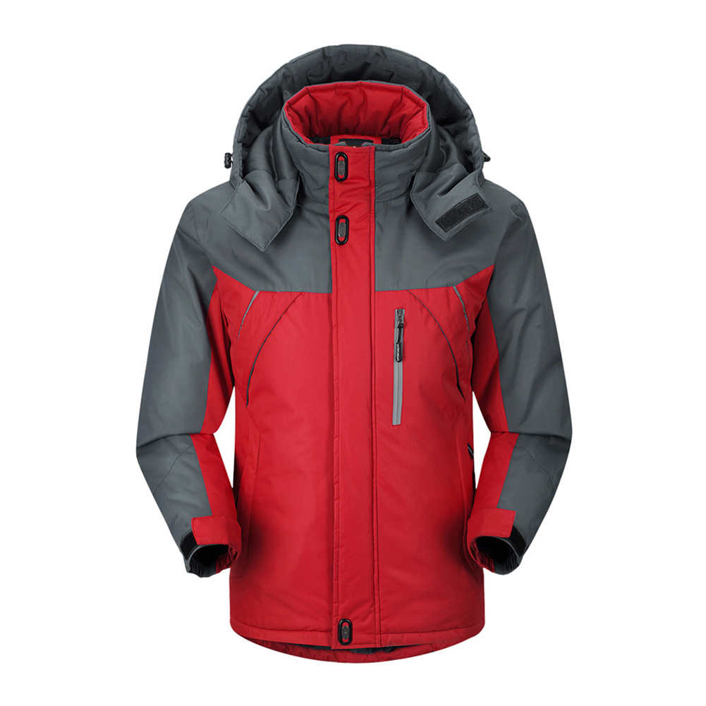 Men Outdoor Hiking Waterproof Jacket Warm Windproof Snowboarding Coat red_M
