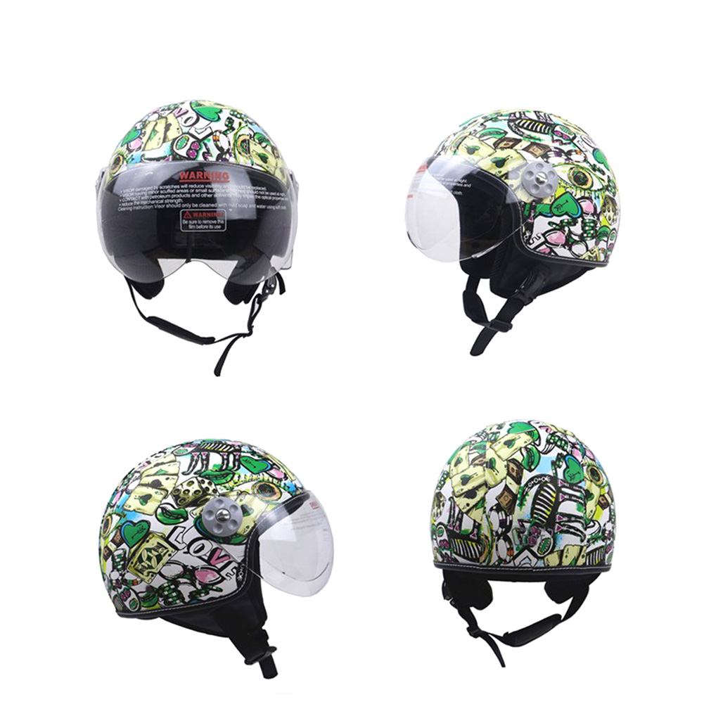 DOT Certification Helmet Leather Cover Scooter Vintage Helmet Green graffiti XL