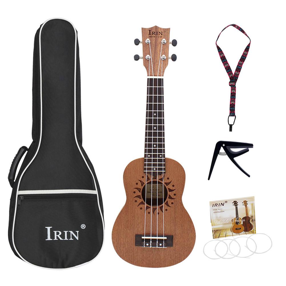 21inch Ukulele Sapele Wood Flower Sound Hole 15 Fret Four Strings Guitar+Bag+String+Capo+Strap  Wood color