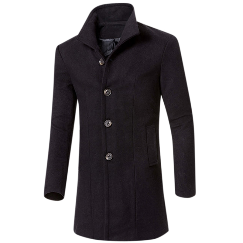 Men Simple Casual Outdoor Thicken Coat Slim Warm Solid Color Jacket Tops black_M