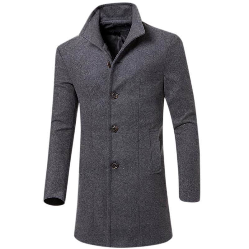 Men Simple Casual Outdoor Thicken Coat Slim Warm Solid Color Jacket Tops gray_M