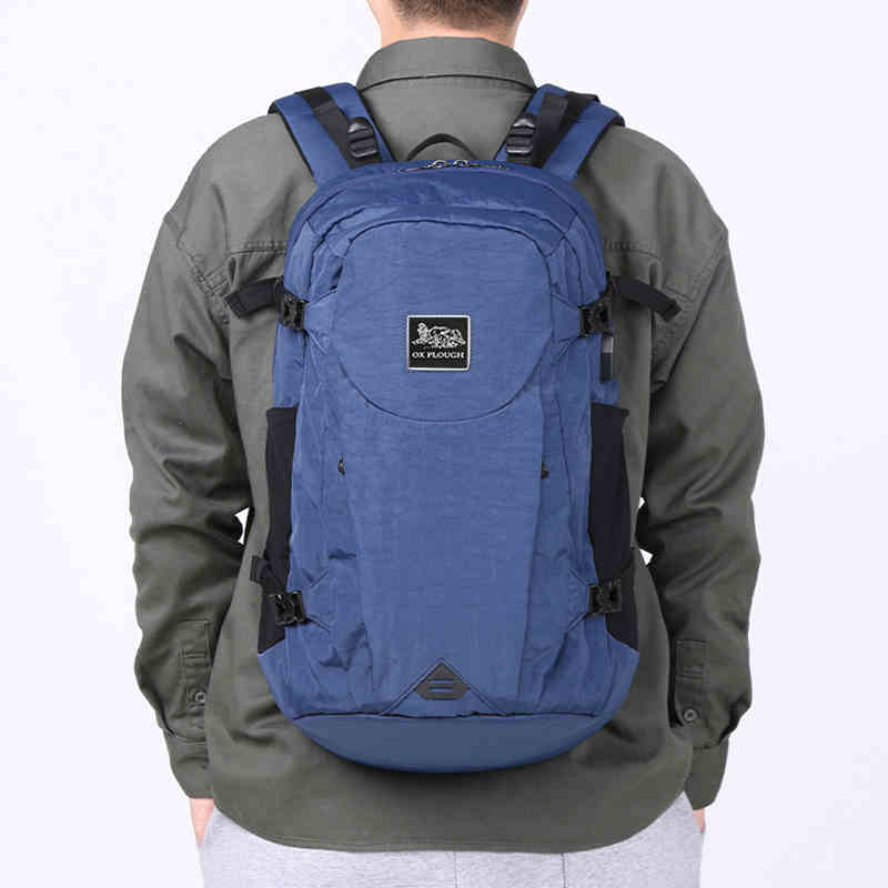 Multi-function  Bag Outdoor Sports Mountaineering Cycling Travel Large-capacity Storage Backpack Blue+hat