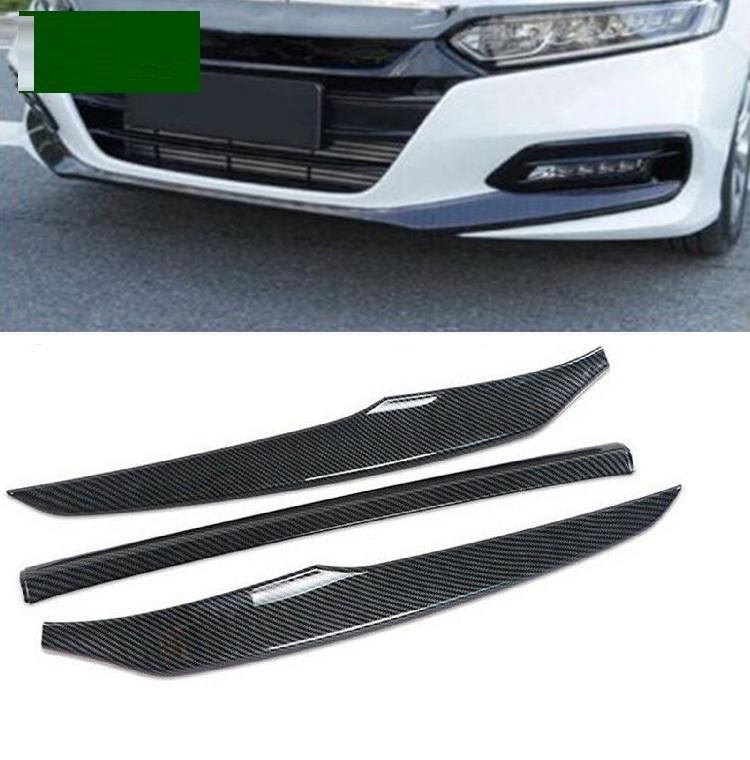 3pcs/set Front  Bumper  Lip  Cover Trims For Honda Accord 2018 2019 2020  Car Modified Parts Carbon black