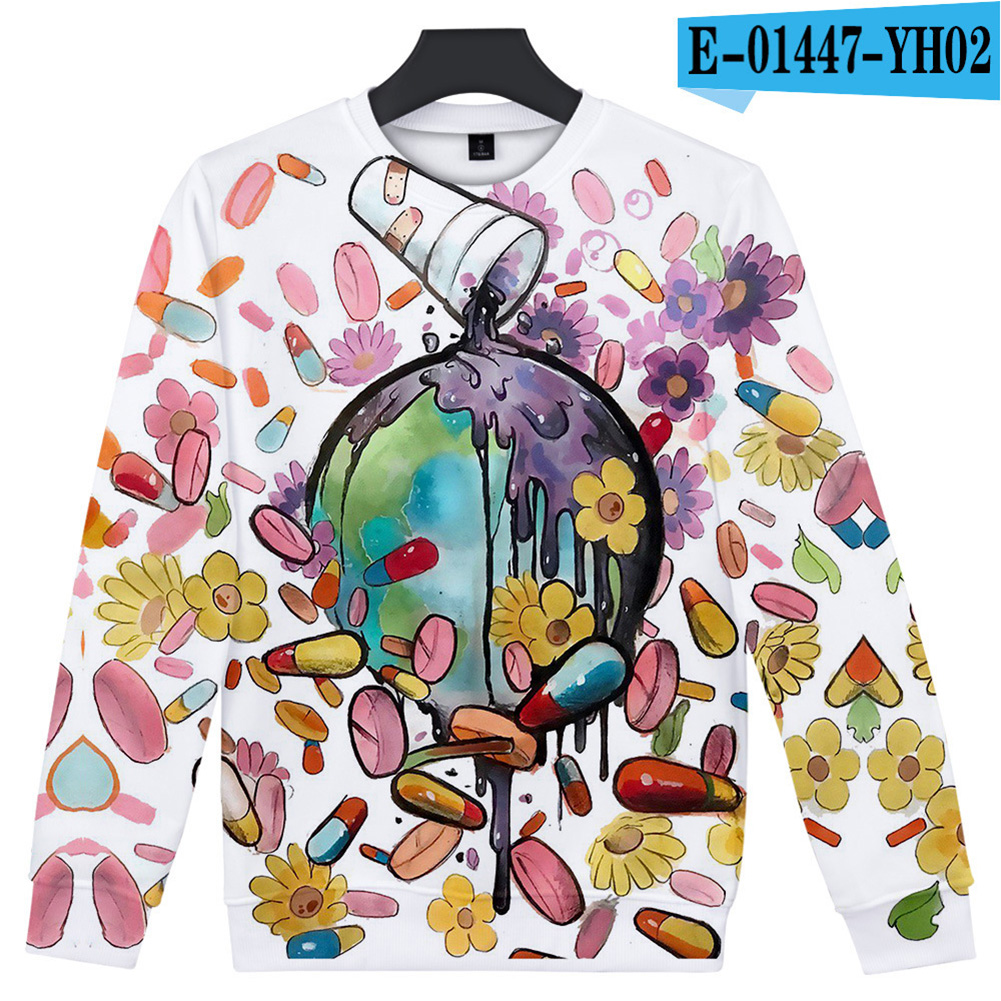 Men Women Sweatshirt Juice WRLD Flower Heart Printing Crew Neck Unisex Loose Pullover Tops White_XXXL