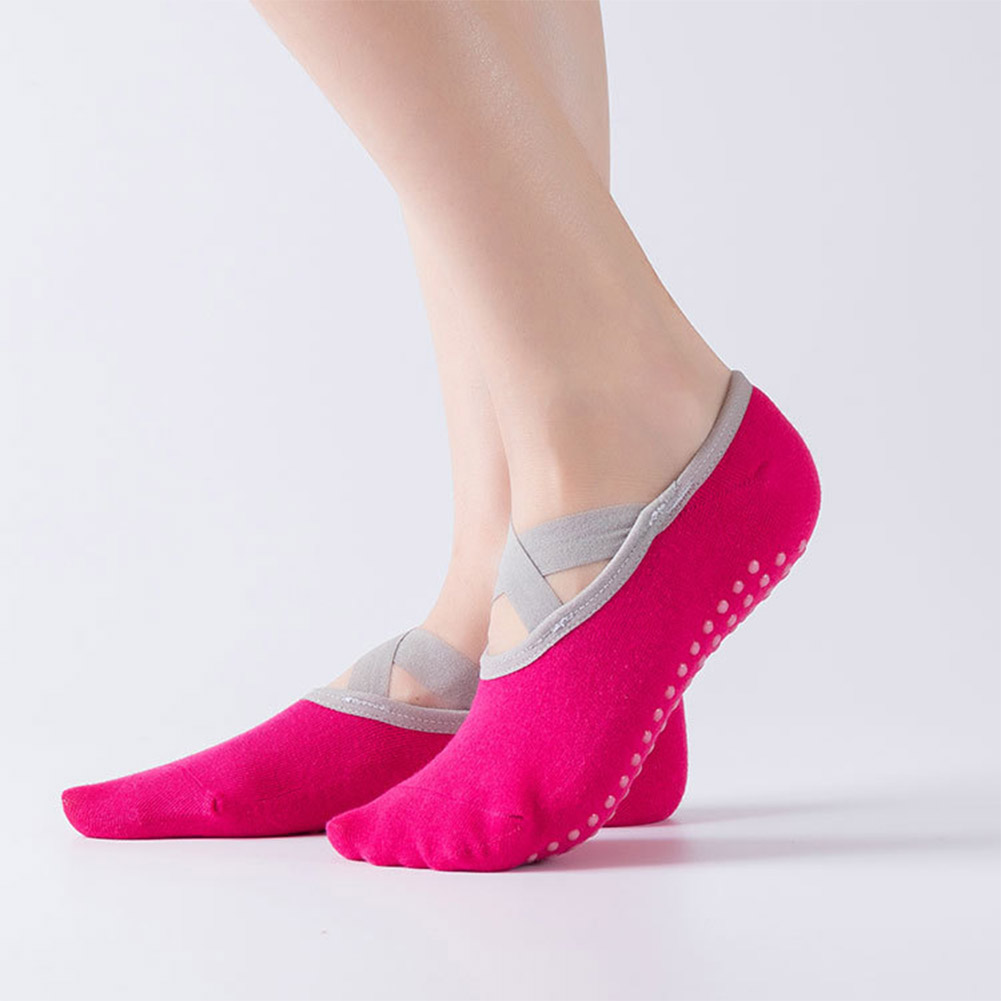 Non-slip Yoga Socks Professional Pressure Socks Adult Dance Socks Shoes Rose red_One size
