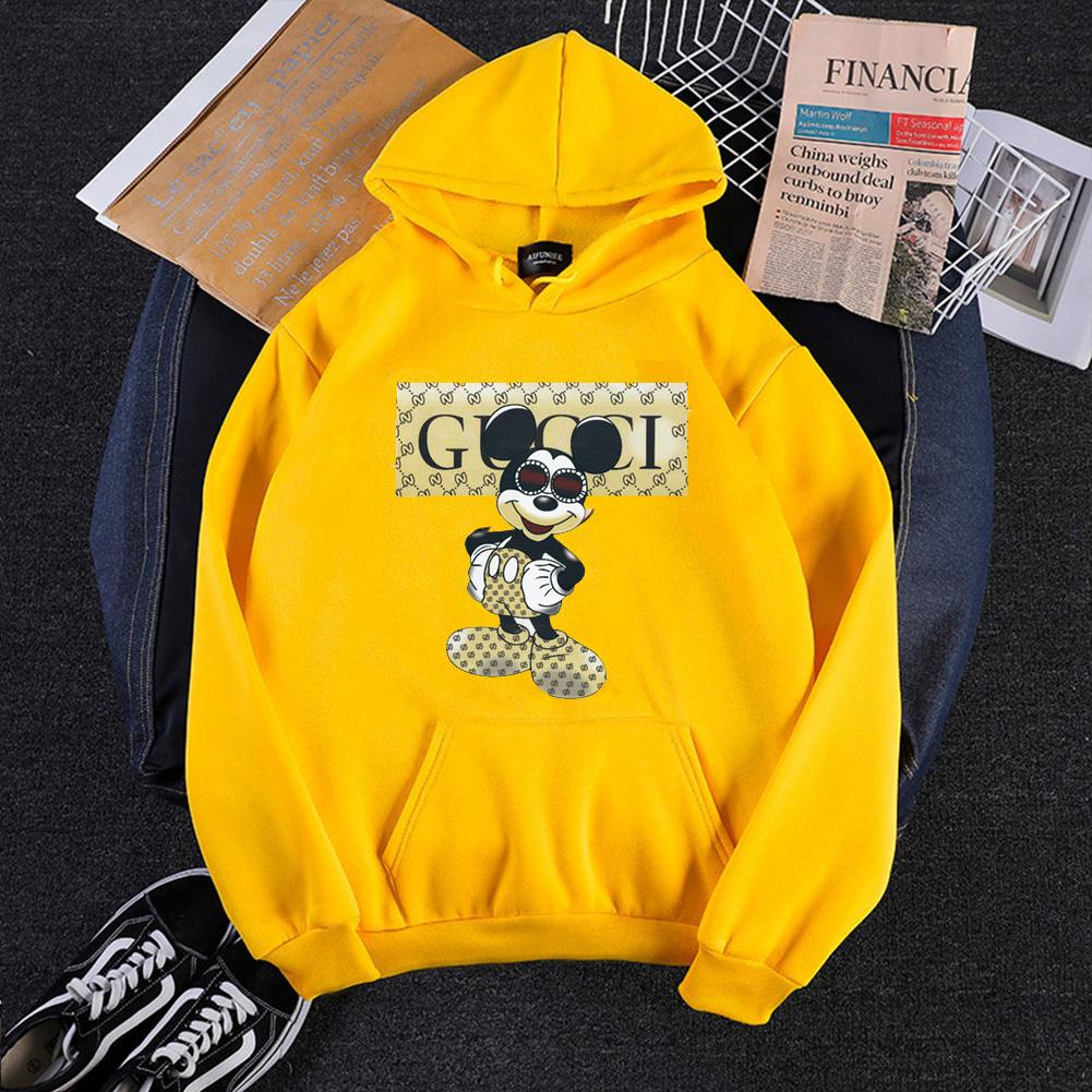 Men Hoodie Sweatshirt Cartoon Micky Mouse Autumn Winter Loose Student Couple Wear Pullover Yellow_M
