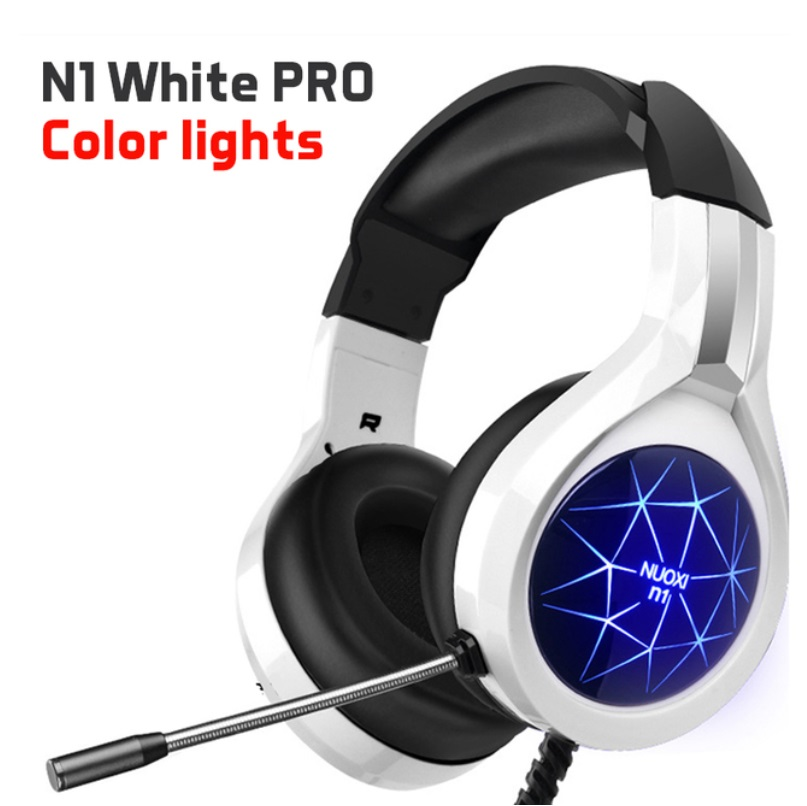 Adjustable  Headset Surround Sound Stereo Noise Cancelling Over Ear Headphones Wired Gaming Headset With Microphone White