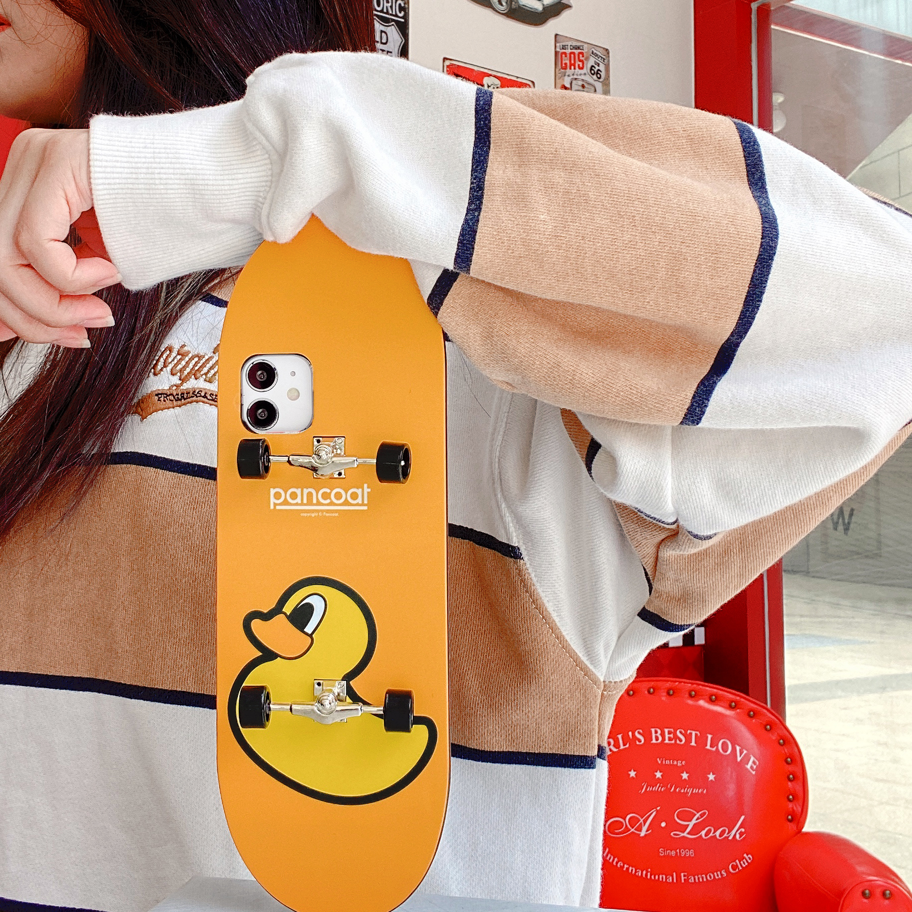 Mobile Phone Case Cartoon Skateboard Shape Protective Case For Iphone Xsmax Yellow bottom duck_iPhone xsmax