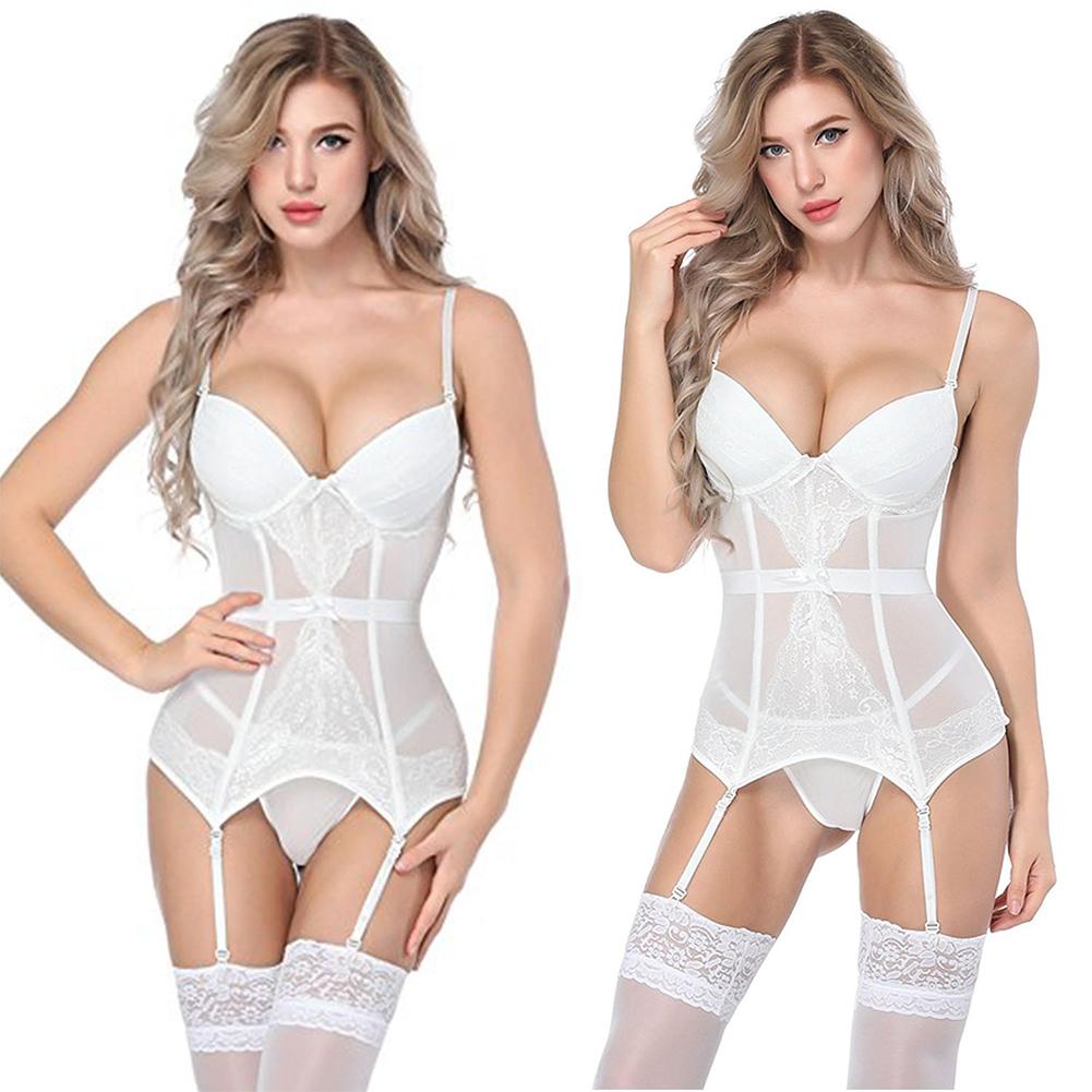 Women Sexy Underwear Set Sling Jumpsuit Briefs G-string Nurse Cosplay Costume Nightclub Wear