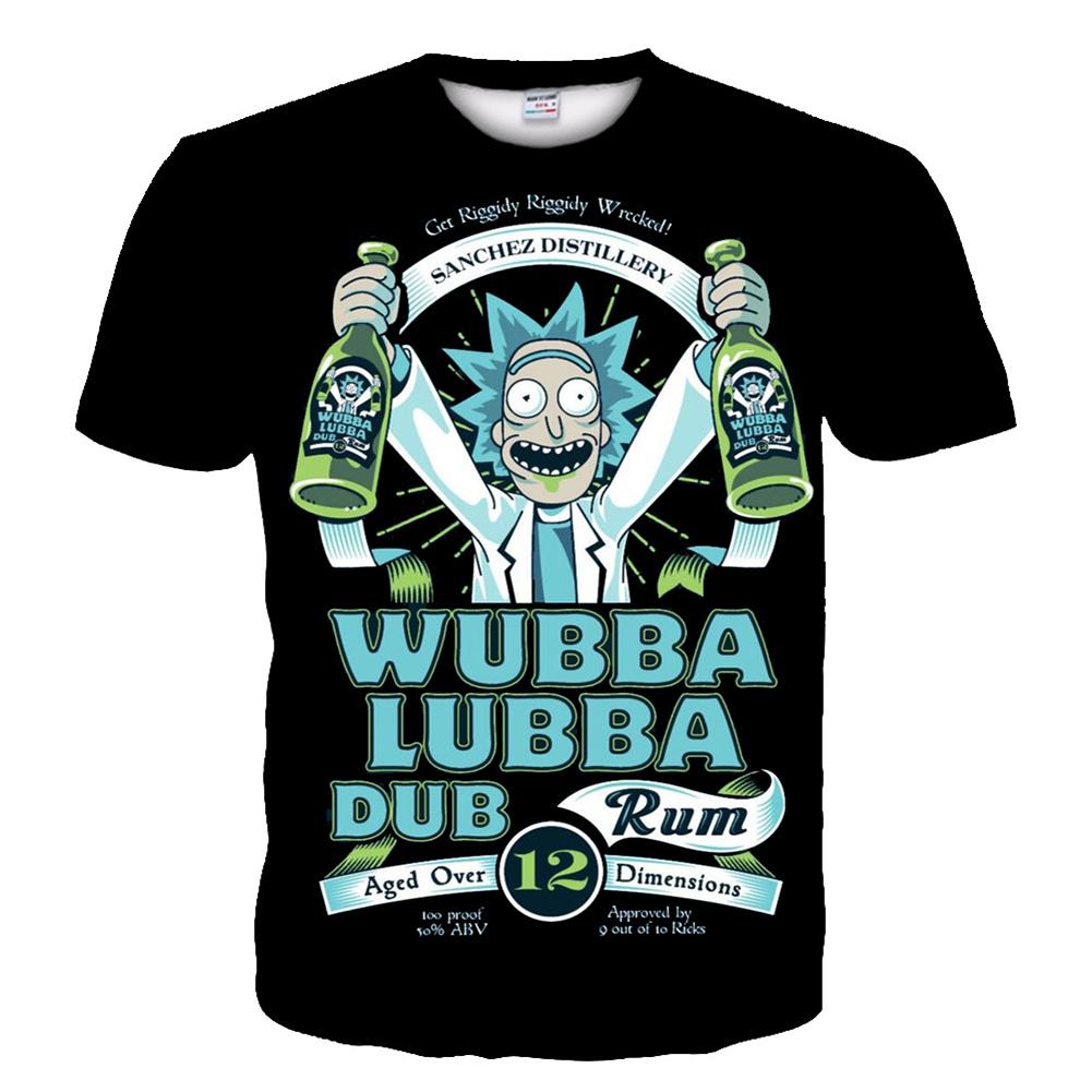 Women Men Fashion 3D Cartoon Printing Rick Short Sleeve T-Shirt  Rick_XXL