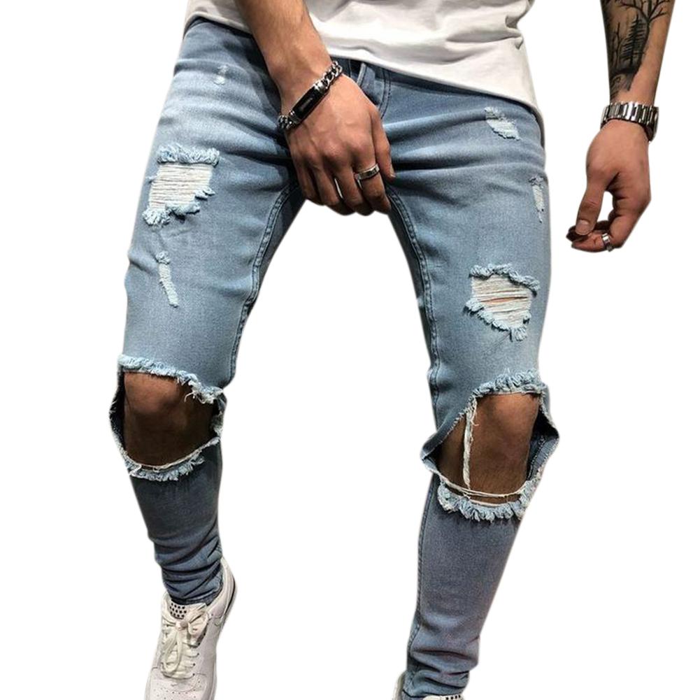 Men Retro Fashion Pencil Pants Frayed Slim Fit Denim Pants Break Hole Jeans 2005 blue_S